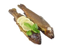 Smoked trout with basil. And lemon on white background Stock Image