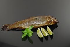 Smoked trout with basil. And lemon on black plate Stock Photos