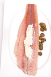 Smoked trout with capers Stock Image