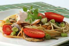 Smoked trout with colored spaghetti and vegetable Stock Photos