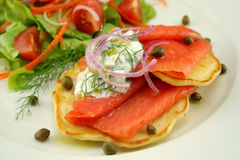Smoked Trout On Fritters Stock Images