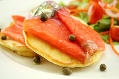 Smoked Trout On Fritters Royalty Free Stock Image