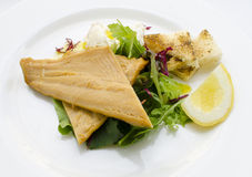 Smoked trout with horseradish cream and fresh salad Stock Images