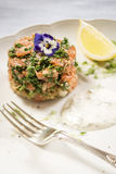 Smoked Trout and parsley cake wtih lemon and dill Sour Cream Royalty Free Stock Photos