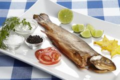 Smoked trout with spices, herbals and trimming stock images