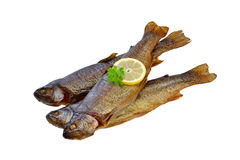 Smoked trouts. Three smoked rainbow trouts isolated on white background Royalty Free Stock Photos