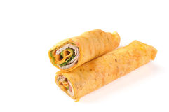 Smoked turkey or chicken wraps Royalty Free Stock Images