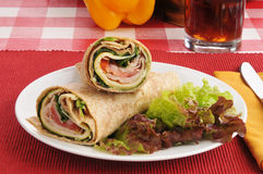 Smoked Turkey Pesto Wraps Stock Photography