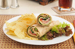 Smoked turkey sandwich wraps Royalty Free Stock Photography