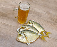 Smoked Vomer and glass of lager beer on a wooden table Royalty Free Stock Photography