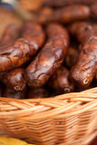 Smoked wild boar sausages Stock Photos