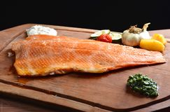 Smoked wild salmon fillet with vegetable Stock Images