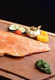 Smoked wild salmon fillet with vegetable Royalty Free Stock Photos