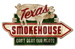 Smokehouse Sign Texas Vintage Grunge Ribs Real. BBQ Barbecue tin metal rustic antique grill roadhouse royalty free illustration