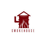 Smokehouse vector concept with barrel royalty free illustration