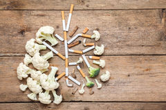 The smoker's lungs. Imitation of a smoker's lungs formed by cauliflower and cigarette butts royalty free stock photography