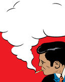 The smoker. Comic style drawign of a vintage style man smoking Stock Photo