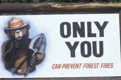 Smoker bear. A sign that reads �Only you can prevent forest fires Stock Photos