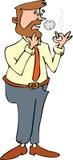 Smoker Cigarette. Cigarette smoker line-art cartoon vector illustration