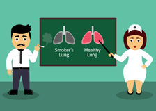 Smoker and doctor. Health care concept. Smoker's Lungs and Healthy Lungs. Flat design element. Vector illustration. Smoker and doctor. Health care concept vector illustration