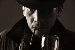 Smoker elderly gentleman Royalty Free Stock Images