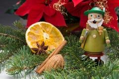 Smoker. German incense smoker and Christmas flower Royalty Free Stock Image