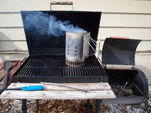 Smoker grill warming up Stock Photography