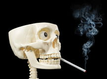 Smoker human skull Stock Photo