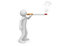 Smoker puffing cigarette - Lifestyle Stock Image