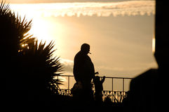 Smoker silhouette. In a sunset Royalty Free Stock Photo