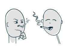 Smoker and viper met face-to-face. Illustration sketch style Royalty Free Stock Photos