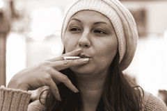 Smokers girl Royalty Free Stock Photo