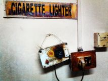 For smokers. Lighter in Aizwal airport stock images