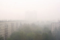 Smokescreen over Moscow after forest fires Stock Photos