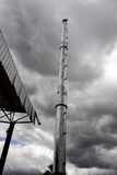 Smokestack factory. Environment with gray sky Stock Photos