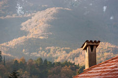 Smokestack mit einer Ansicht Stockfoto