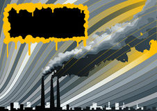 Smokestacks background. This image is a vector illustration.Contains big factory and air polution.Text place for your business Stock Images