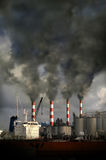 Smokestacks Blowing Pollution stock images