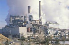 Smokestacks at a Denver Utility Commission power plant, Denver, Colorado Stock Photography