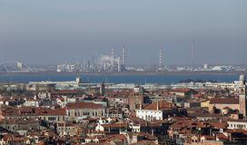 Smokestacks and factories polluting with smoke near Venice Stock Photos