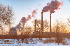 Smokestacks of an industrial plant Royalty Free Stock Photo