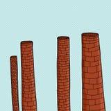 Smokestacks Over Blue Stock Image