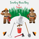 Smokey Bear Day flat vector illustration. Vector Smokey Bear Day poster. Tools and equipment manual fire symbols, icons in flat style Royalty Free Stock Images
