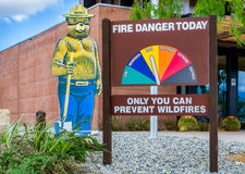 Smokey the Bear and Fire Danger Sign Stock Photography