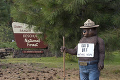 Smokey The Bear With Laid Off Sign stock image