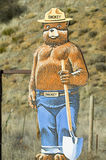Smokey the Bear warns of forest fires in Ventura County near Lockwood Valley, California on highway 33 Stock Images