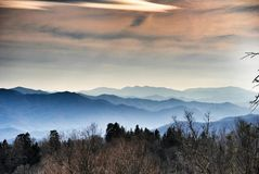 Smokey Mountains. Clingmans dome in the smokey mountains. Peace and simplicity. Nature at its best. Layers of mountains as far as the eye can see Royalty Free Stock Photo