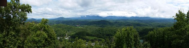 Smokey mountains. Panorama view from cabin porch Royalty Free Stock Image