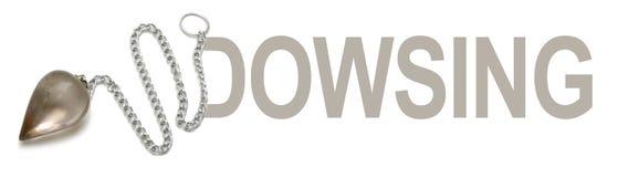 Smokey Quartz Dowsing Pendulum Banner. A smokey quartz dowsing pendant merged with the word Dowsing forming a banner logo Stock Photo