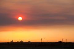 Smokey Sunset in California Stock Photo
